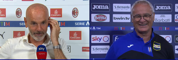 Stefano Pioli (Allenatore Milan) e Claudio Ranieri (Allenatore Sampdoria)